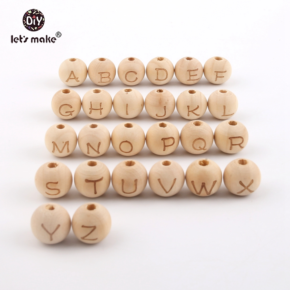 Let's Make 14mm Wooden Beads Print 26 Letters 26pc Wooden Teether Nursing Jewelry Accessories Diy Teething Necklace Baby Teether