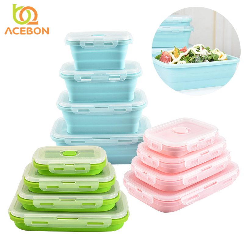 Silicone Folding Bento Box Collapsible Portable Lunch Box for Food Dinnerware Food Container Bowl For Children Adult by ACEBON