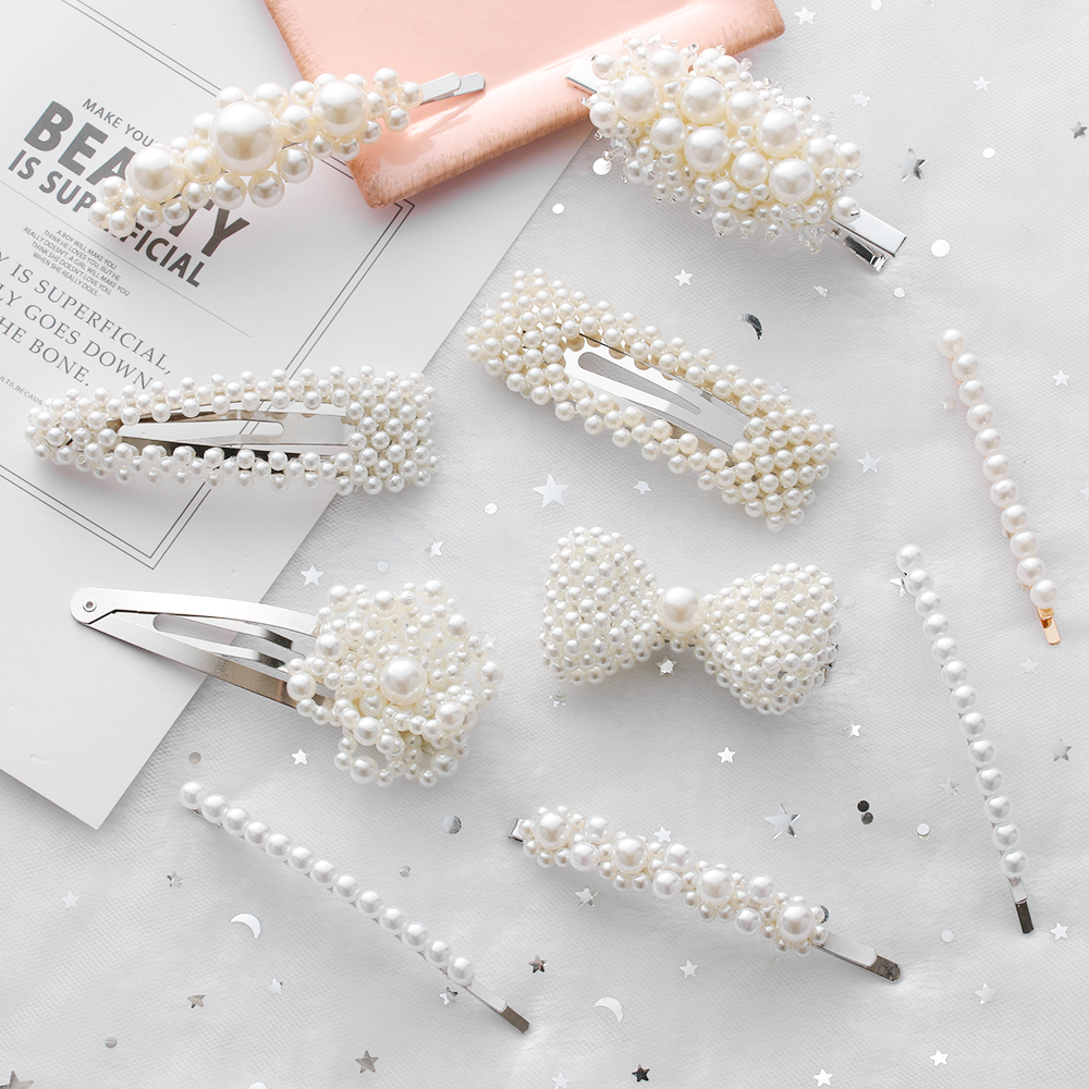New 9 Styles Fashion Pearl Hair Clip for Women Elegant Korean Design Pearl Metal Hair Clips Hairpin Hair Styling Accessories(China)
