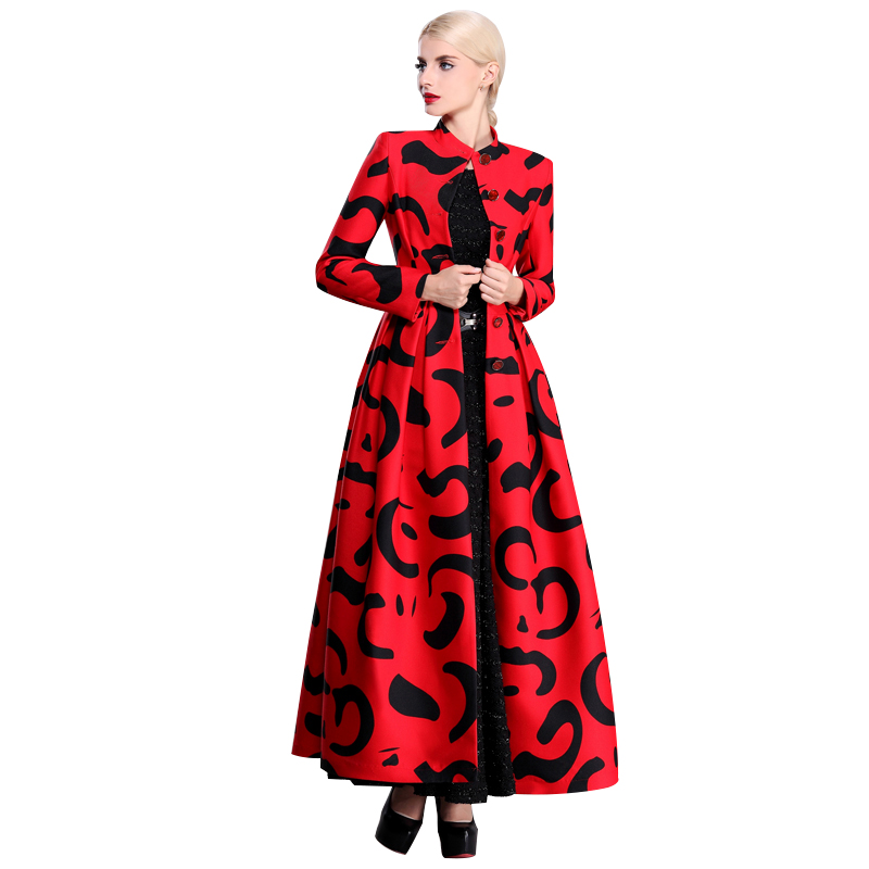 Muslim Clothing Islamic Coat Print Women Box Pleated   Trench   Coat Single Breasted Stand Collar Maxi Long Overcoat Plus Size