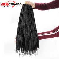 Seidige Strands Micro Box Zöpfe Häkeln Haar Extensions Ombre Faser Synthetische Flechten Haar Groß Häkeln Zöpfe