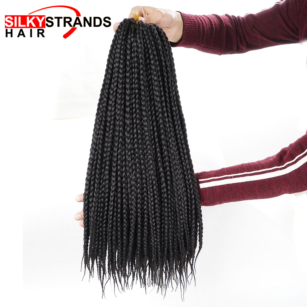 Braids Crochet Hair-Extensions Silky Strands Micro-Box Bulk Synthetic Fiber Ombre