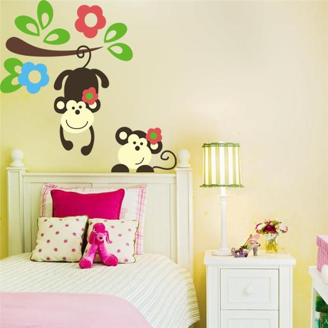 Delightful Kawaii Monkey Hang Tree Wall Stickers Kids Bedroom Decoration 1202. Cartoon  Home Decals Kindergarten Mural Part 8