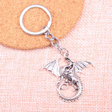 Car Key Ring Pendant Silver Color Metal Key Chains Accessory Wholesale,Vintage magical winged dragon Keychain(China)