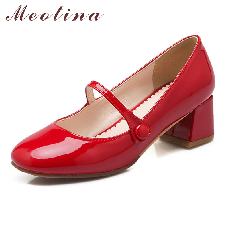 Meotina Designer Shoes Women Mary Jane Square Toe Mid Heels Lady Shoes Chunky Heels Wedding Pumps White Red Women Shoes Size 10 купить недорого в Москве