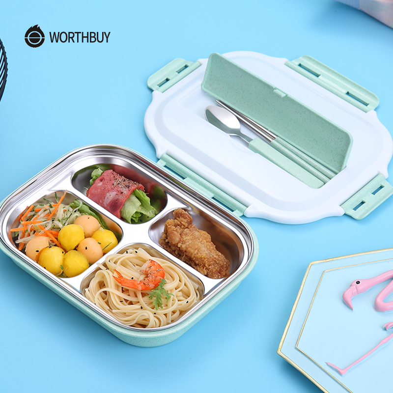 WORTHBUY Portable Japanese Lunch Box With Compartments Tableware 304 Stainless Steel Kids Bento Box Microwave Food Container