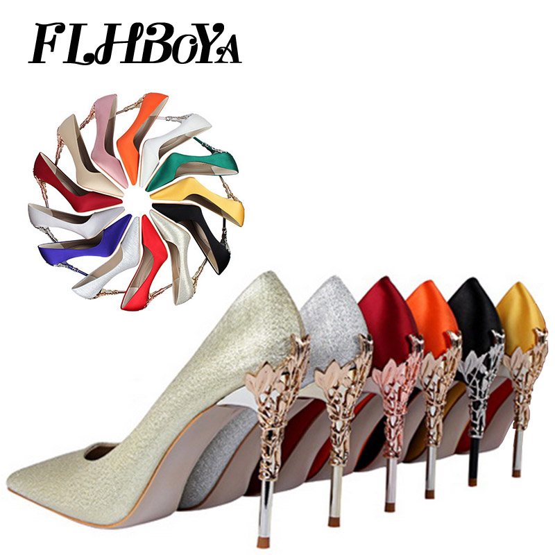 Women High Heels Pumps Fashion Yellow Red Thin Heels Pointed Toe Female Shoes Silk Satin Wedding Prom Party Classic Ladies Pumps