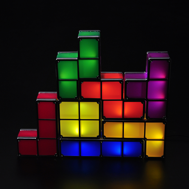 Novelty Night Light Game Style Rechargeable Tetris Light