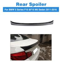 BMW 5 시리즈 F10 520i 523i 528i 530i 550i M5 2010 - 2017 용 탄소 섬유 리어 스포일러 트렁크 스티커 부츠 윙