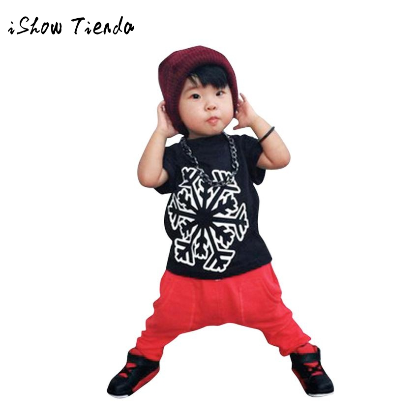 Baby Kids Boys Handsome Outfit Clothes snow Printing Short Sleeve T-shirt Tops+Haren Pants 1Set cotton o-neck costume wear suit
