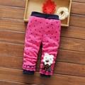 Outono Inverno Do Bebê Das Crianças Dos Miúdos Meninas Crianças Babi Rendas Coelho Dos Desenhos Animados de Veludo Engrosse Calças Compridas Calças Slim Leggings S4242