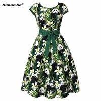 HimanJie Vintage Retro Vestito Delle Donne 2017 Nuovo Partito di Sera Panda Bamboo Leaves Stampa Vestiti Delle Donne Audrey Hepburn Dress Abiti