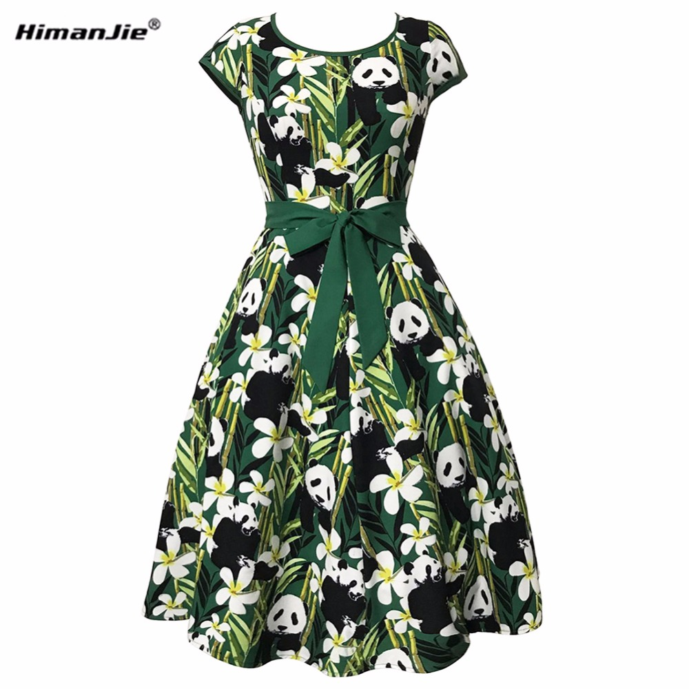 HimanJie Vintage Retro Women Dress 2017 New Party Evening Panda Bamboo Leaves Print Dresses Women Audrey Hepburn Dress Vestidos