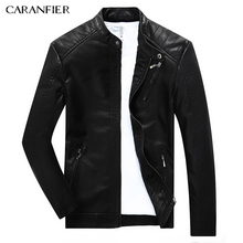 CARANFIER Men Jacket Coat High Quality Round Collar Zippers Leather Jacket Male Fashion Smart Casual Style Windproof Outerwear