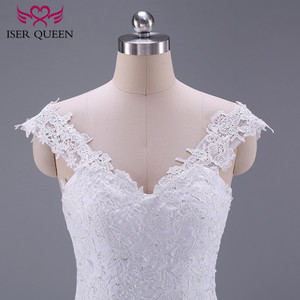 Image 4 - Pure White African Mermaid Wedding Dress  Short Cap Sleeve Hollow Plus size Embroidery Appliques Vintage Wedding Dresses W0036