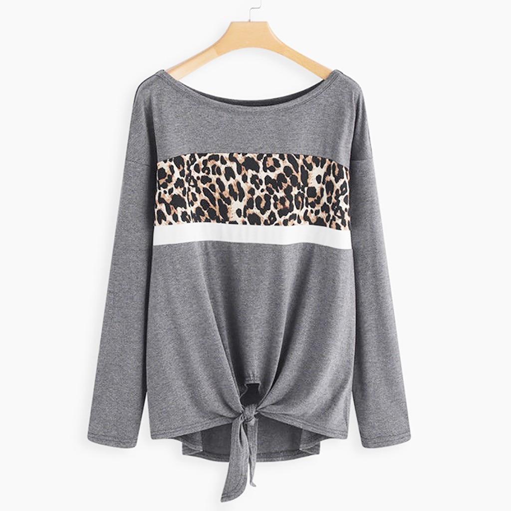 Feitong Leopard Splice Bind T Shirts FashionWomens Long