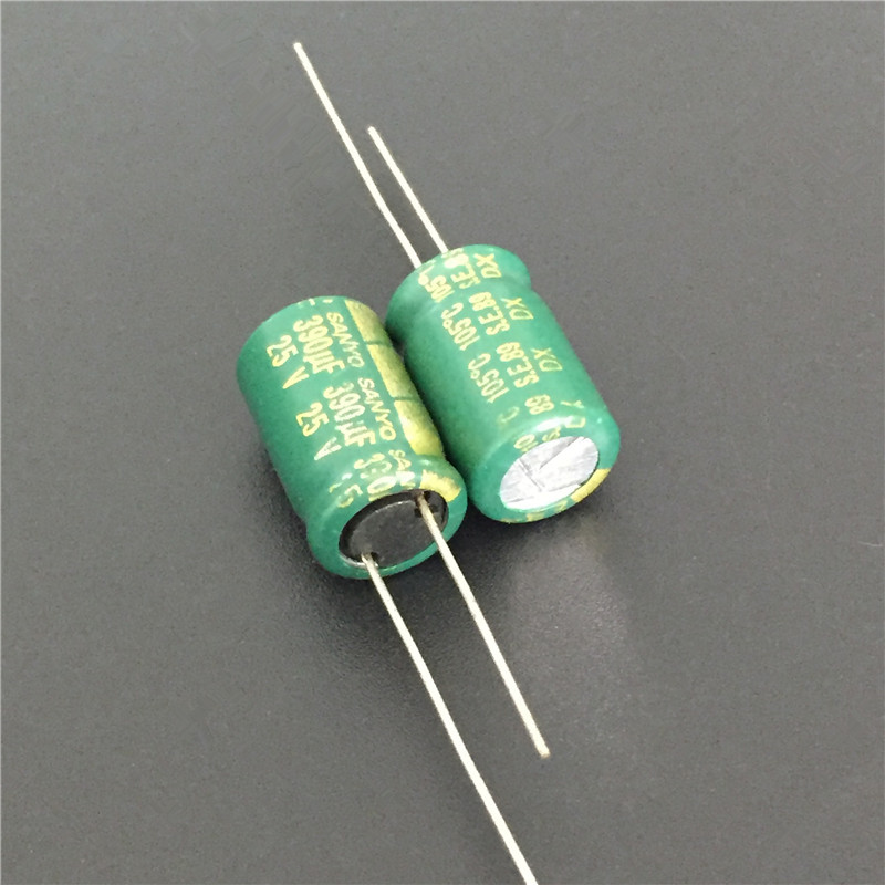 10pcs 390uF 25V Sanyo DX Series 10x16mm 25V390uF Low Impedance Electrolytic Capacitor