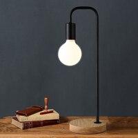 Современная настольная лампа из дерева и кованного железа  простая и красивая. Креативная индивидуальная прикроватная настольная лампа дл...