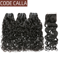 Code Calla Water Wave Raw Virgin Bundles With Closure Brazilian Hair Weave Bundles With Lace Closure 100% Human Hair Extension