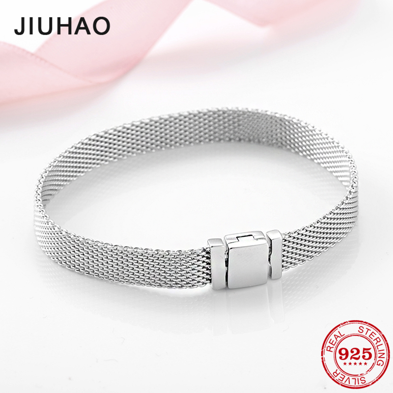 High quality 925 Sterling Silver Fashion Clip Beads Bracelets for Women Fit Original reflexions bracelet charms femme Jewelry-in Chain & Link Bracelets from Jewelry & Accessories