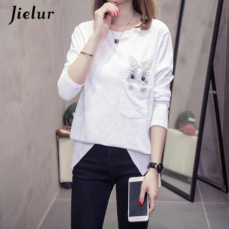 Jielur Осенняя женская футболка с вышивкой кролика милые корейские футболки с длинными рукавами белые черные футболки с круглым вырезом для девочек m-xxl