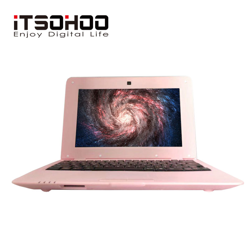 Low price 10 inch cheap Kids Arm Netbook Android laptop with Pink Green color iT
