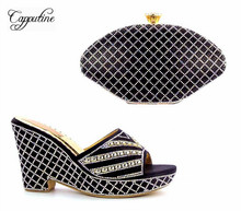 Capputine African Desgin Rhinestone Shoes And Bags Set Summer Woman 10CM Heel Shoes And Bags For Party Black Color SLipper