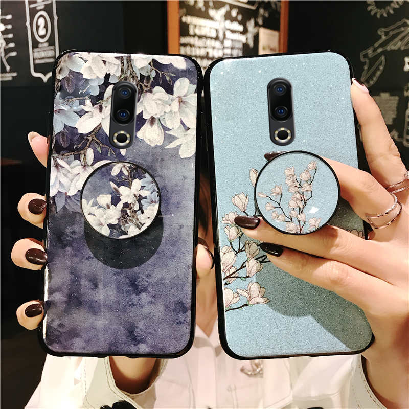 Glitter Flower Phone Case For <font><b>Meizu</b></font> m15 pro 7 16s 16x <font><b>16th</b></font> plus v8 note 8 9 x8 Finger Ring Wristband Strap Holder Coque Fundas image