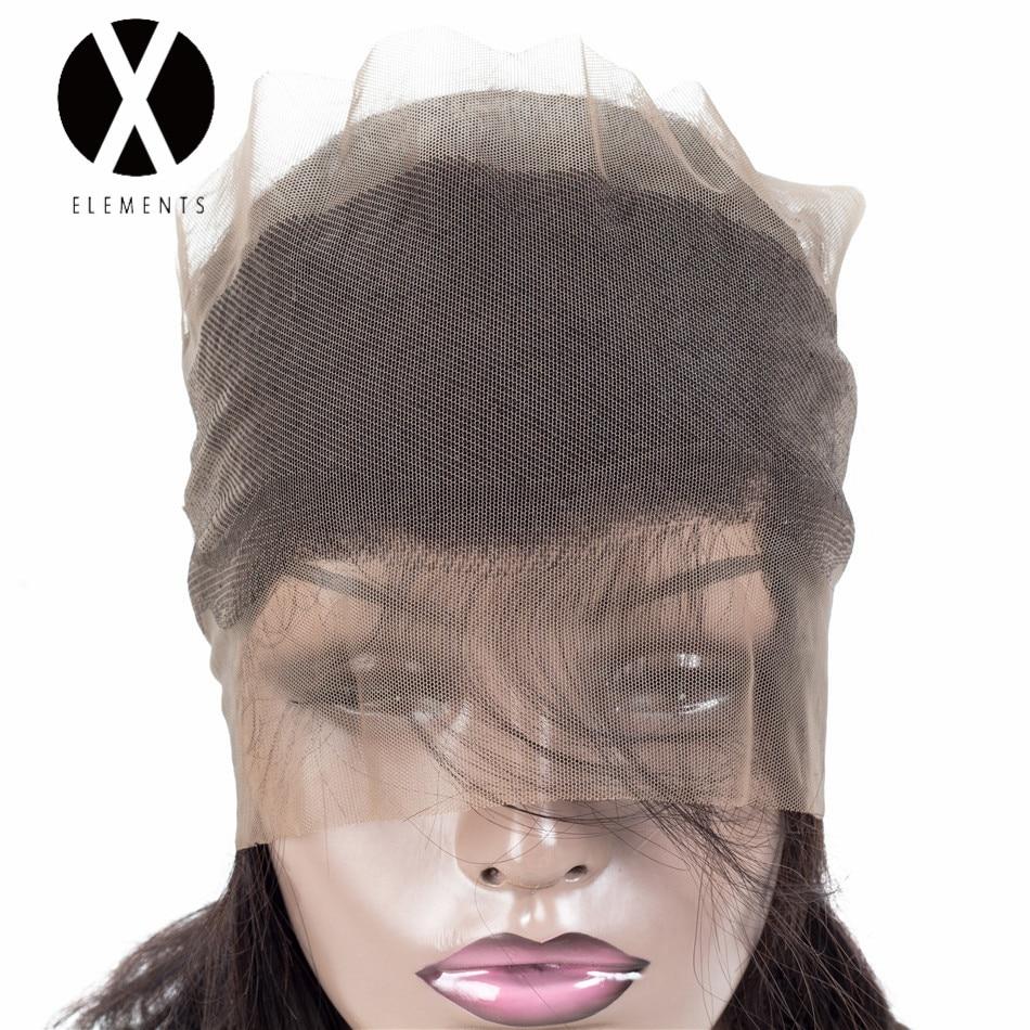 X-Elements 360 Lace Closure Human Hair Peruvian Straight Closure With - Mänskligt hår (svart) - Foto 5