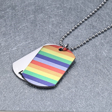 LGBT Equality Dog Tag Colorful Titanium Chains Necklace