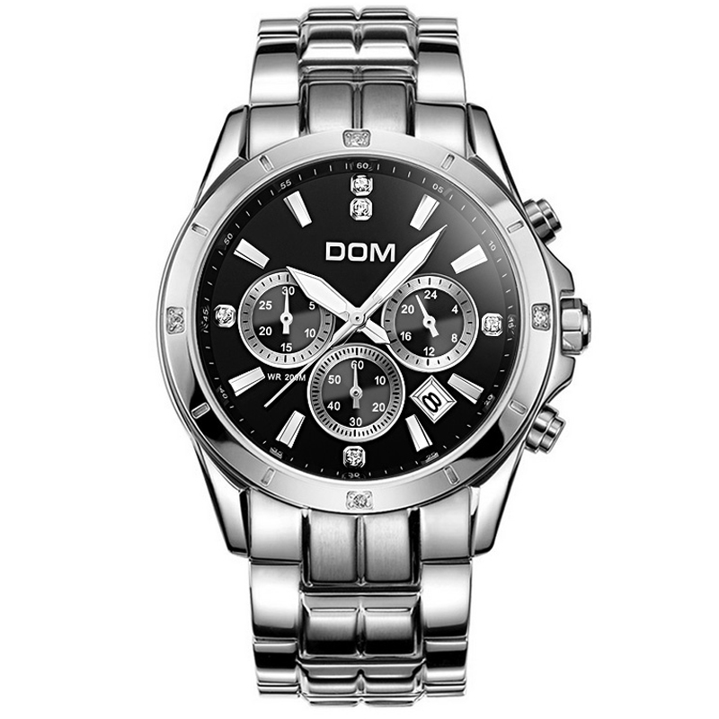 DOM 2015 Mens Watches Top Brand Luxury Quartz Waterproof Watch Relojes Stainless Steel Casual Brand Men