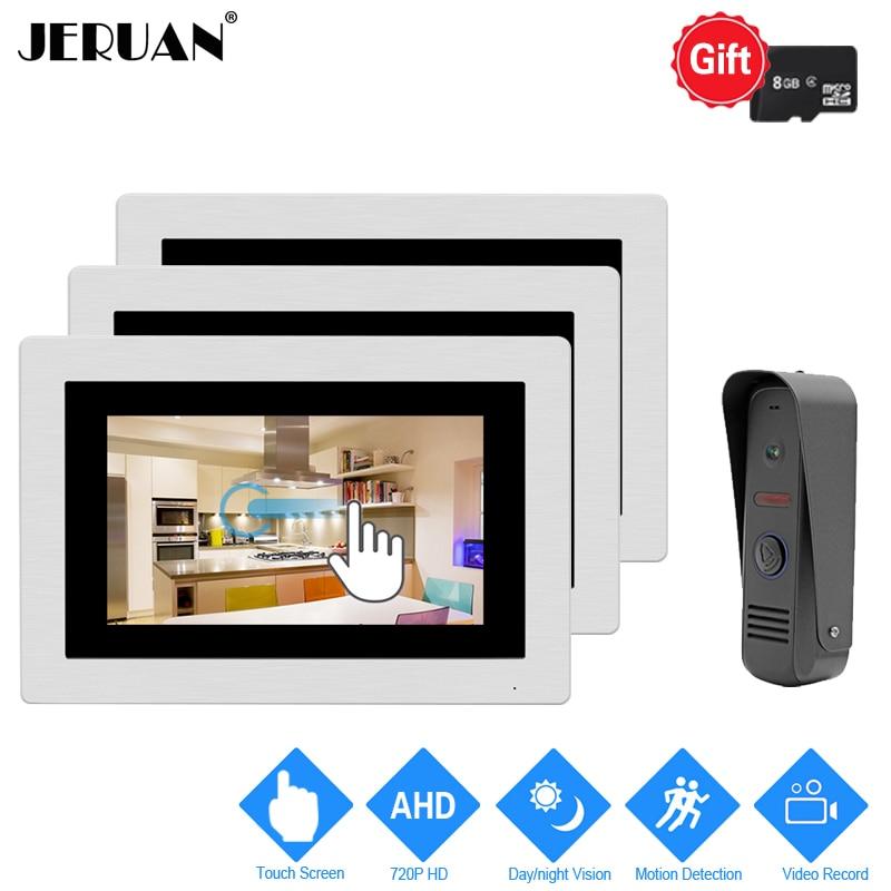 JERUAN 720P Motion Detection 7`` Touch Screen Color Video DoorPhone Intercom System 3 Record Monitor +Waterproof Mini Camera