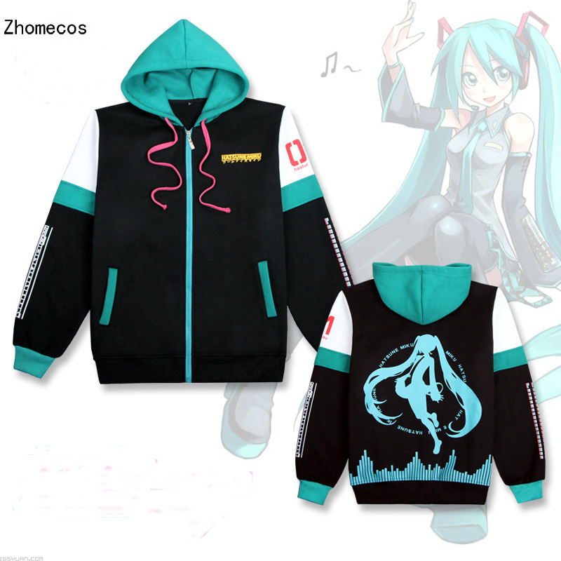 Anime Hatsune Miku Cotton Zipper Hooded Hoodie Jacket Costumes Cosplay For Woman And Girls Coat Plus Size