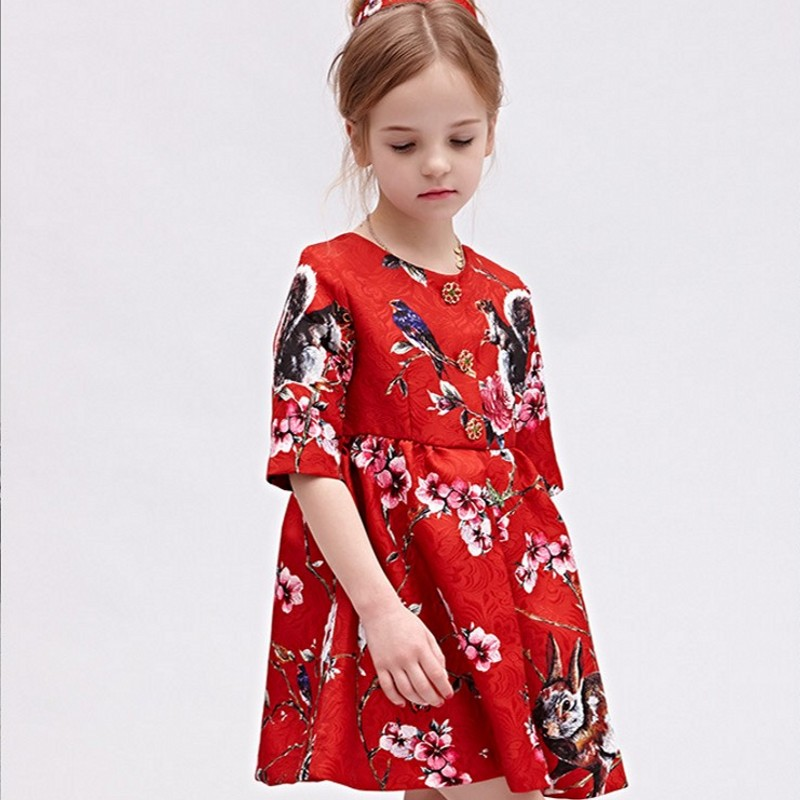 2018 Spring Chinese Style Children Dresses For Girls Fashion Short Sleeve Embroidery Girl Summer Printed Floral Vestido Curto 2017 new lolita chiffon dress goldfish embroidery printed floral kawaii cute chinese style bow princess dresses cosplay costumes