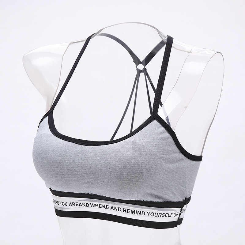 Mulheres sutiã esporte superior de fitness livre tamanho letras yoga bra preto branco esporte underwear correndo yoga ginásio fitness empurrar para cima sutiã esportivo