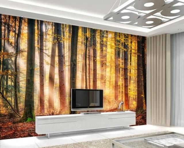 Custom Natural Scenery WallpaperSunshine Forest3D Photo Mural For Living Room Bedroom Restaurant
