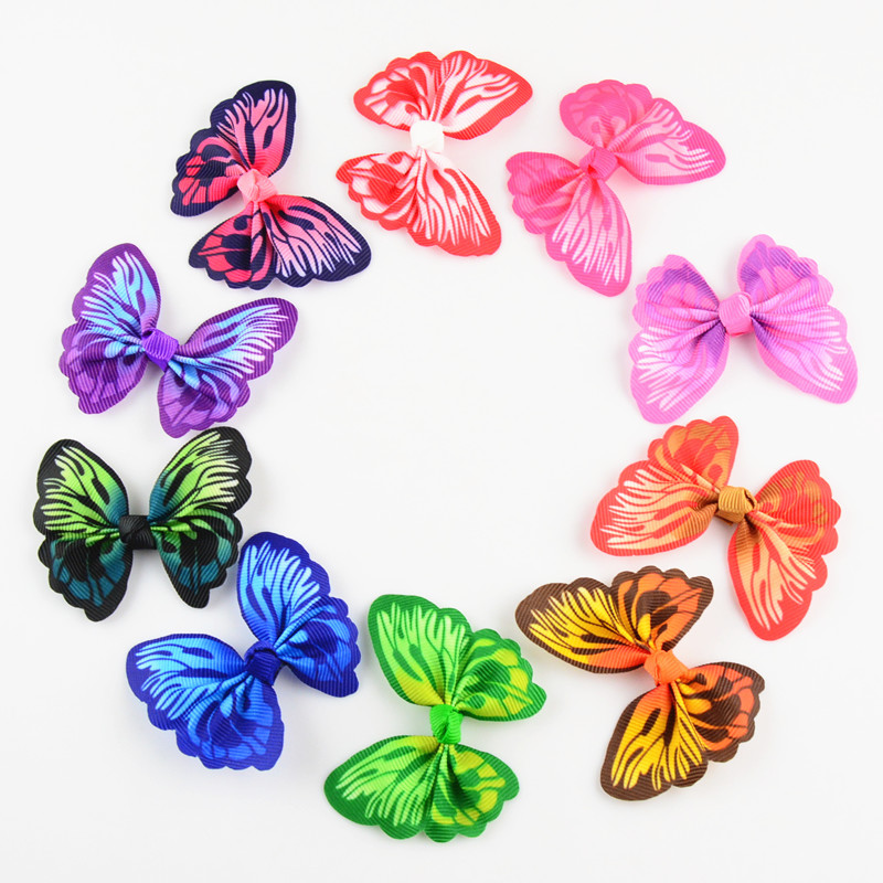 30pcs lot 2 4 Inch Mini Ribbon Butterfly Bows Without Hairpin Boutique Hair Accessories 10 Color