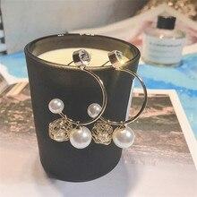 Korean Handmade Silver Needle Anti-allergy Nest Pearl Rhinestone Drop Earrings Dangle Fashion Jewelry-BYD5