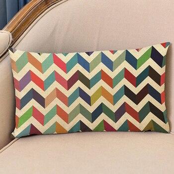 Nordic 18'' Geometric Style Linen Cushion Cover Decorative Pillows Arrow Cactus Rectangular Waist Pillow Case Sofa Cushion Cover