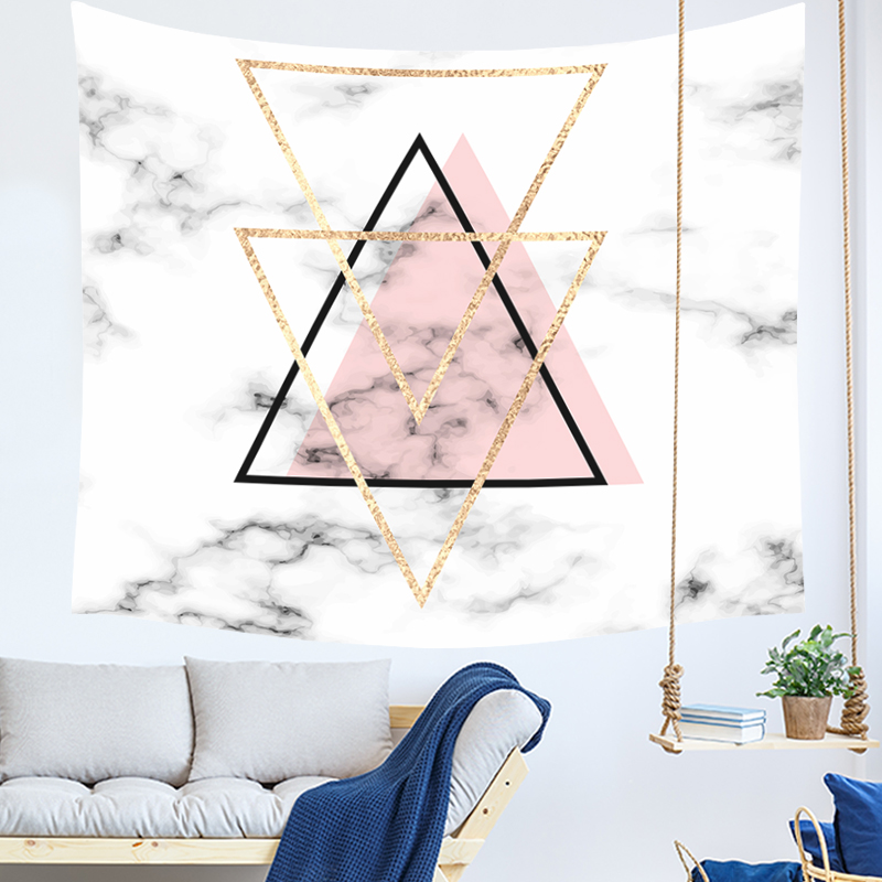 marble print tapestry pink and golden nordic wall hanging tenture mural modern dorm room decor geometric carpet blanket image