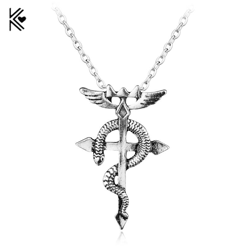 Anime Style Vintage Fullmetal Alchemist Edward Elric Chain Pendant Necklace Hot Sale Classic Women And Men Statement Necklace