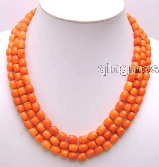 """SALE 8-8.5mm Thick Slice Pink High quality GENUINE Natural Coral 18-20"""" 3 strands Necklace-5774 wholesale/retail Free ship"""