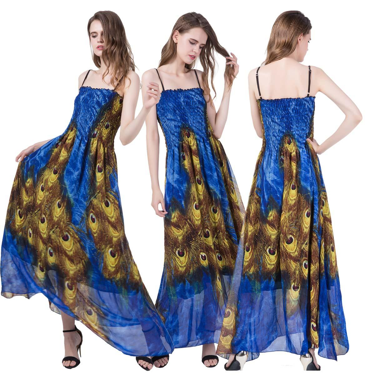 Summer Women Long Dress Peacock Floral Printed Dresses Boho Spaghetti Strap Party Prom Ball Dress Sexy Backless Beach Holiday