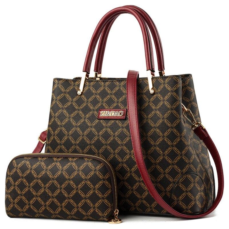 2 pièces femmes sacs ensemble en cuir sac à main nouveau femmes fourre-tout sac dames sacs à main sac à bandoulière pour femmes 2019 haut de gamme breveté tissu