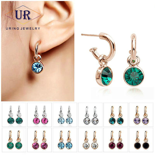 Top Rated Austrian Crystal Popular stud Earring Rose Gold Color