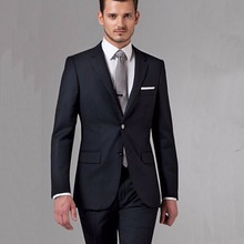 Black Business Men Suits Custom Made Bespoke Classic Black Wedding Suits For Men Tailor Made Groom Suit WOOL Tuxedos For Men cheap dower me skinny Formal Zipper Fly REGULAR Polyester Flat Single Breasted Reference Images