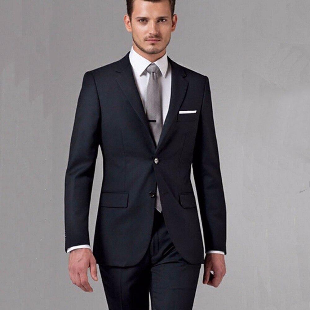 Hommes d'affaires noirs costumes sur mesure, costumes de mariage noirs classiques sur mesure pour hommes, Tuxedos en laine sur mesure pour hommes