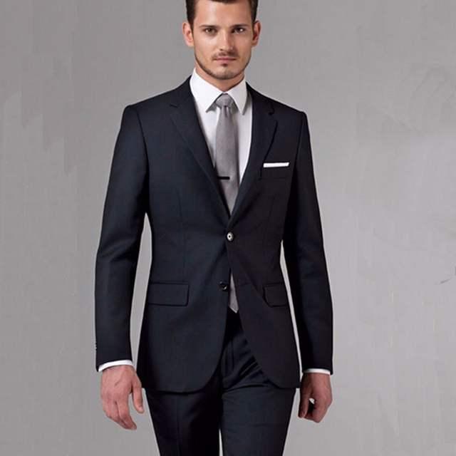 Negro de los hombres de negocios trajes personalizados hecho a medida negro clásico  trajes de boda bc60c526ac7