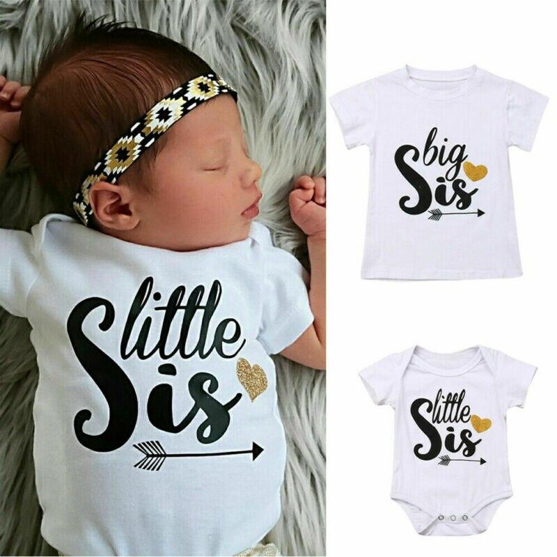 Schwester und Mir Body Familie Passenden Outfits Baumwolle Kleidung Große Schwester T-shirt Kleine Schwester Strampler Sommer
