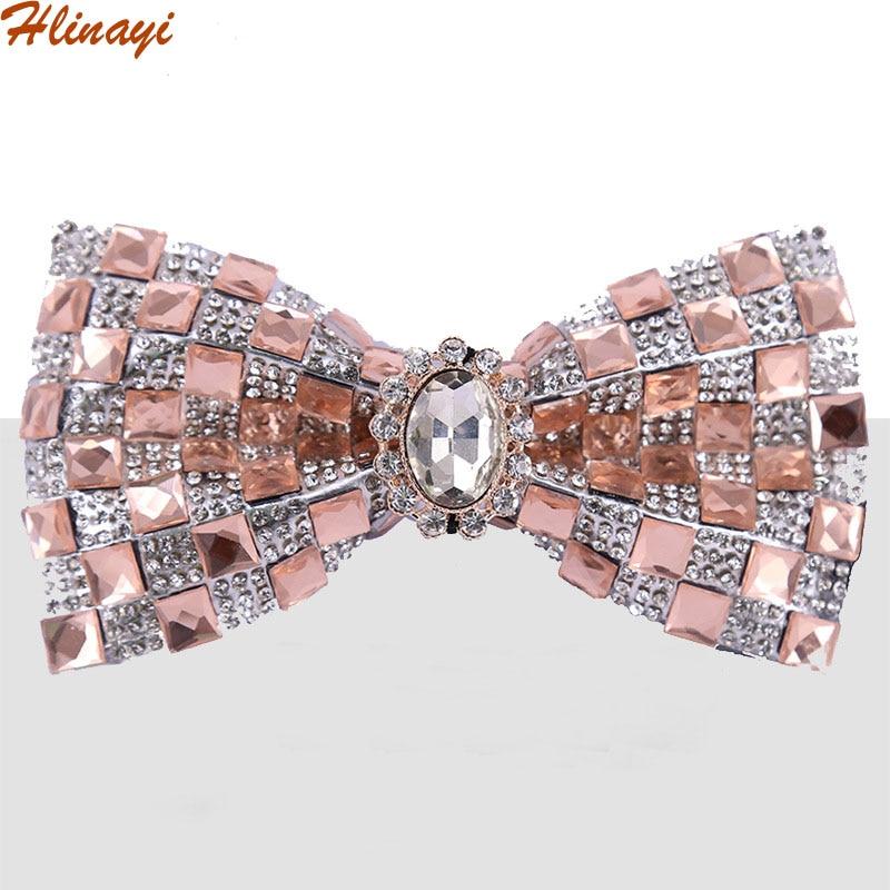 Hlinayi 2019 New Colorful White Crystal Star Bow Tie Banquet Nightclub Flash Diamond Wedding Bridegroom Bow Tie